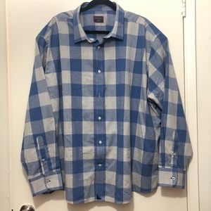 Untuckit Blue Plaid Button Shirt Size XXXLC w flaw